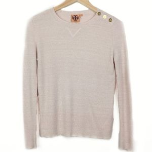 Tory Burch Pink Knit Gold Button Sweater